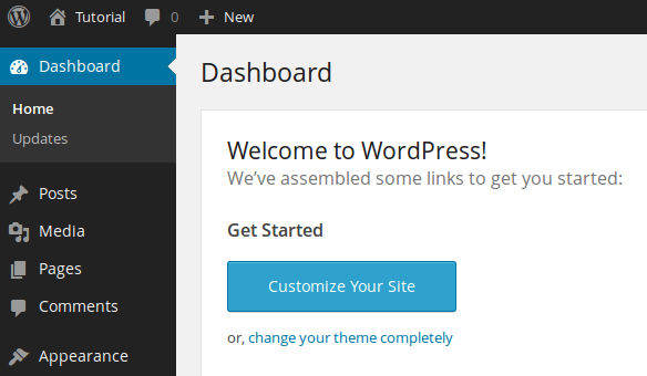 Wordpress dashboard after installation
