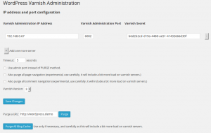 Wordpress Varnish plugin administration
