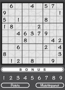 The Sudoku game implemented in the Aivoterveydeksi! iOS application.