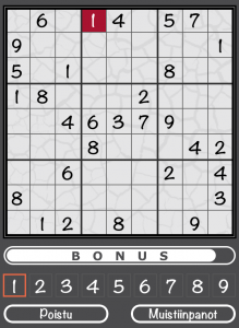 An incorrect move in Sudoku on the Aivoterveydeksi! iOS application.